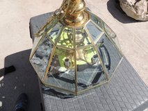 brass with glass chandelier hanging light fixture 10 pane 6 stem local only in Huntington Beach, California