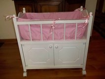 White Doll Crib With Cabinet & Bedding - Super Nice! - L@@K! in Brookfield, Wisconsin