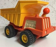 Vintage Fisher Price Orange Yellow Dump Truck With Worker 1970s 302 in Lockport, Illinois