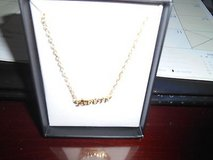 """Brand New """"AVON""""  spelled out in a goldtone necklace.  20"""" Chain + extender in Kingwood, Texas"""