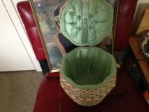 Vintage Woven Wicker Rattan Lined Sewing Basket in Roseville, California