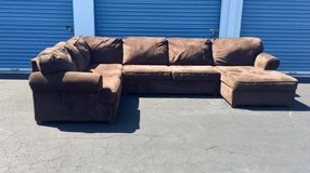 Dark Brown Three Piece Sectional Couch in Camp Lejeune, North Carolina