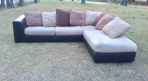 Tan Neutral Pillow Back Sectional Couch in Camp Lejeune, North Carolina