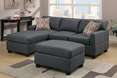 New Linen Sectional Sofa with Ottoman Blue Gray Linen FREE DELIVERY in Oceanside, California