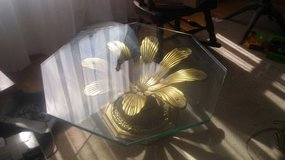 Vintage Hollywood Regency Coffee Table with Glass Top in Glendale Heights, Illinois