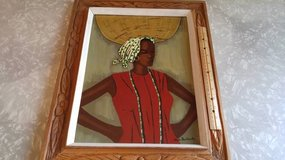 Vintage Claude Dambreville Original Haitian Oil Painting in Naperville, Illinois