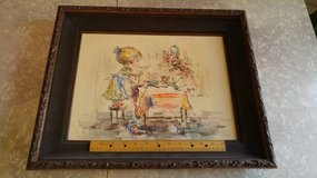 Vintage 70s Signed Marie Sardim Lithograph Girl at Table in Lockport, Illinois