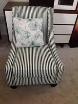 Stripped Accent Chair by Kroehler-Grey, White, Green and Black in Plainfield, Illinois