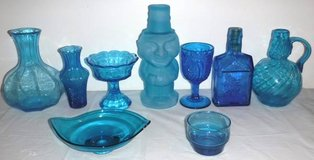 Vintage Indiana Tiara Wheaton & Fenton Blue Glass Decanter Dish Vases in Naperville, Illinois