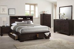 Queen Bed with Storage Bookshelf- Dresser Mirror Option FREE DELIVERY in Vista, California