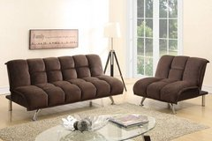 Chocolate Brown Sofa Futon Bed + Chair Sectional Option FREE DELIVERY in Vista, California