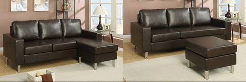 New Espresso Mini Leatherette Sectional + Ottoman Option DELIVERY4FREE in Miramar, California