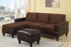 New Mini Chocolate Microfiber Sectional with Ottoman FREE DELIVERY in Miramar, California