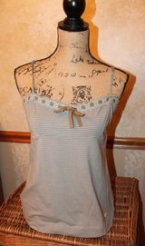 Soft MNG by Mango Striped Camisole, Lace Ribbon Neckline, Adjustable Straps, Lg in Westmont, Illinois