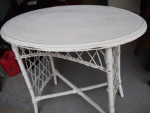 OVAL HARD WOOD TABLE ,WOUND WICKER BINDINGS in Tinley Park, Illinois