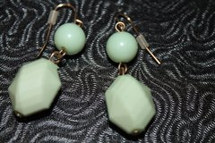Mint Green 2-Bead Drop Pierced Earrings in Bolingbrook, Illinois