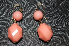 Peach 2-Bead Drop Pierced Earrings in Bolingbrook, Illinois