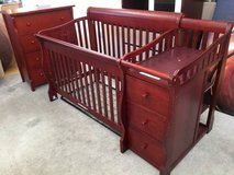 Cherrywood Convertible Fixed-Side Crib and Changing Table + Dresser in Joliet, Illinois