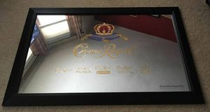Authentic LARGE CROWN ROYAL WHISKEY Mirror w/ Black Wooden Sign in Brookfield, Wisconsin