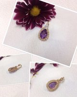 14k yellow gold slide pendant, 2ctw  amethyst accented with diamonds in Camp Lejeune, North Carolina