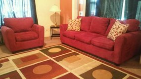 Red Plush Couch & Chair w/Decorative Pillows in Tacoma, Washington