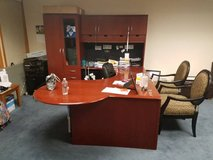 L shaped desk with hutch and glass cabinet in Vacaville, California