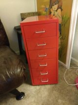 6 Drawer Red Metal Mini FILE CABINET with Silver Pulls in Roseville, California