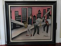VINTAGE WOOD PAINTED SIGNED FRAMED JAZZ MUSICIAN in Vacaville, California