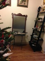 Vintage Mirror and Wrought Iron Table made into a vanity style area in Hill AFB, UT