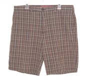 Perry Ellis AMERICA Plaid Shorts Mens 38 x 11 Brown Red White in Morris, Illinois