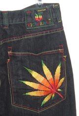 RARE Victorious Rainbow STONER Marijuana Weed Jeans Tag 34x32 Measures 31x30 in Yorkville, Illinois