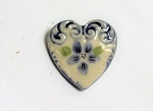 Collectible blue white stone flower floral heart love brooch hat lapel pin stone in Kingwood, Texas