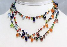 Zad blue green red orange silver tone necklace multi strand statement choker in Kingwood, Texas