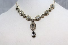 Icing Silver Tone Sequin Gem Stone Party Prom Necklace Pendant Statement Choker Homecoming in Kingwood, Texas