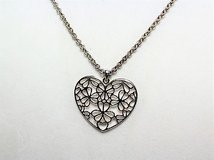 """Silver tone necklace pendant heart love flower floral 26"""" statement choker in Kingwood, Texas"""