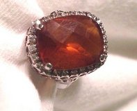 Sterling Silver bling statement ring amber orange color stone cushion design 8 in Kingwood, Texas