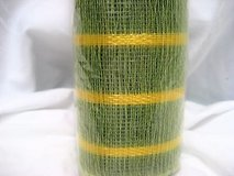 "Green yellow stripe 10"" x 5 yds  deco mesh decorative poly christmas roll craft in Kingwood, Texas"