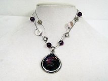 """16"""" purple silver tone wire necklace statement chain pendant choker strands in Kingwood, Texas"""