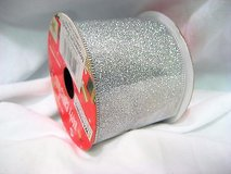 """glitter silver 96-908417 ribbon happy christmas 1506 wired sparkle 2.5"""" x 3 yds in Kingwood, Texas"""