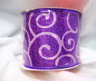 "NWT glitter purple 96-690502 ribbon happy christmas 1407 wired sparkle 2.5"" x 3 yds in Kingwood, Texas"