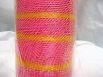 "pink yellow stripe 10"" x 5 yds deco mesh decorative poly christmas roll craft in Houston, Texas"