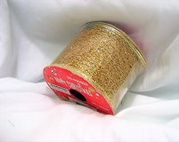 "glitter gold 1407 ribbon 96-650503 happy christmas wired sparkle 2.5"" x 3 yds in Kingwood, Texas"
