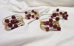 nwot gold tone red bead napkin ring holders (4) strand adjustable trendy table in Houston, Texas