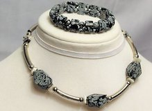 "black gray silver tone choker bracelet jewelry set statement 14"" speckled bead in Kingwood, Texas"