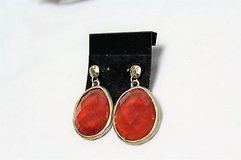 nwot gold tone amber orange gem stone bead earrings drop dangle hook in Kingwood, Texas