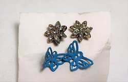 gold tone clear gem stone blue butterfly flower floral snow earrings stud post in Kingwood, Texas