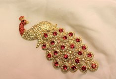 gold tone peacock craft jewelry making design red gem stone detailed scarf in Kingwood, Texas