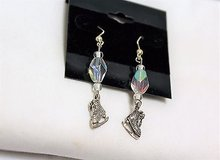 antiqued silver tone ice skate snow iridescent pink earrings drop dangle hook in Kingwood, Texas