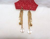 "NWT Gold Tone Chain White Clear Plastic Bead Drop Dangle Hook Gem Stone Link Length: 3 1/2"" in Kingwood, Texas"