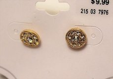 nwt gold tone circle round clear gem stone sparkle stud post in Houston, Texas